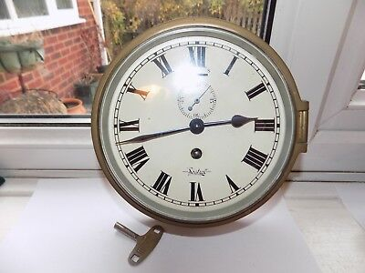 Vintage Sestrel Buren Swiss Brass Ships 8 Day Mechanical Wind Bulkhead Clock