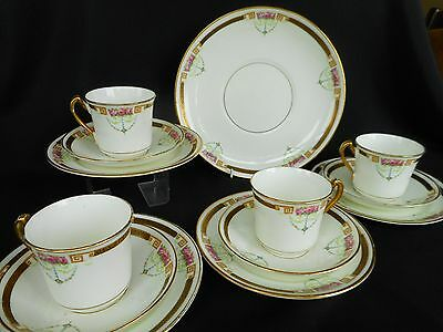 Victorian Royal Stafford China Tea Set ~ Four Trios + Cake Plate ~ Attractive