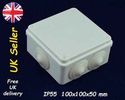 PVC Weatherproof enclosure Junction box 100x100x50mm IP55 White with grommets