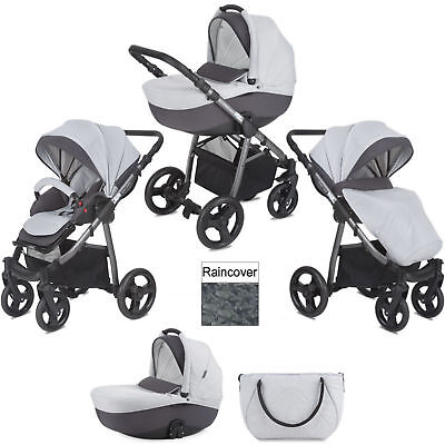 New Mini Uno Grey Melange Stride 3 In 1 Pram / Pushchair With Raincover & Bag
