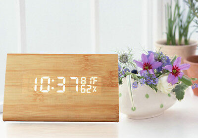 Wooden LED Alarm Clock with Old Style Temperature Sounds Control Calendar LED Di