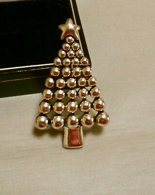Vintage Costume Jewellery - Silver Tone Christmas Tree Brooch / Pendant