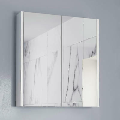600mm Bathroom Mirror Cabinet 2 Door Storage Cupboard Wall Hung Modern White