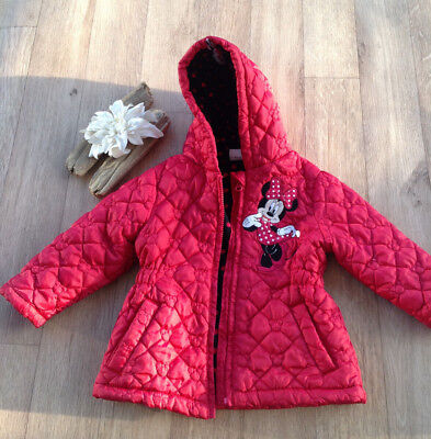 DISNEY Minnie Mouse Girls 18-24M Padded Fleece Lined Coat - Paris visit holiday