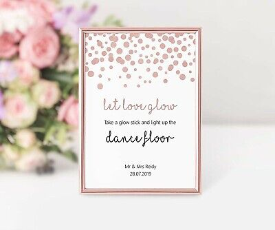 Light Up the Dance Floor Sign Rose Gold Effect Personalised Let Love Glow