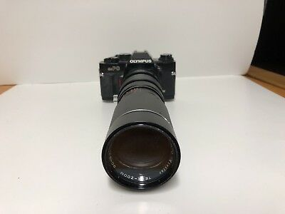 Olympus OMPC Camera Body 35mm SLR Film Camera with 90-230mm Telephoto Lens.