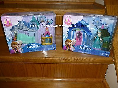 "Disney Frozen Princess Elsa Anna Mini 4"" MagiClip Dolls & Flip N Switch Castles"