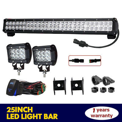 25Inch 162W LED Dual Row Work Light Bar Flood Spot Offroad For Driving Lamp SUV