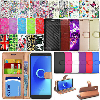 For Alcatel 1 5033X - Designer Wallet Leather Case Flip Cover + Screen Protector