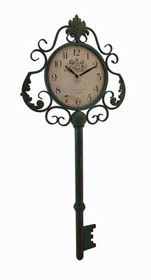 Zeckos Green Antique Key Shaped Vintage Finish Metal Wall Clock