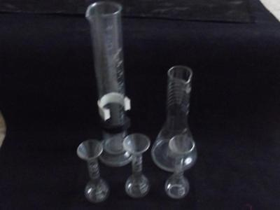 Five Glass M B L & St Co  Assorted  Measuring  Or Test Tubes Estate Cleared
