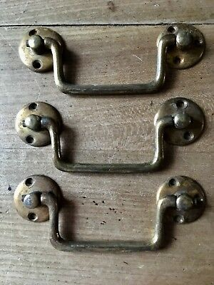 Vintage Drawer Pull Handles Box Chest Cupboard Brass Antique Reclaimed Original
