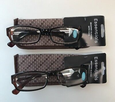 5a63faf09b97 LOT OF 2 - Reading Glasses Foster Grant Tucker Brown w  Case +2.00 ...