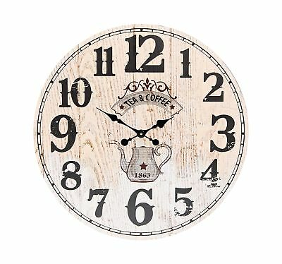 XXL Wall Clock 58 cm round Large Beige Wood Vintage Coffee Tea Watch Kitchen