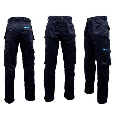 PREMIUM PROFESSIONAL WORKWEAR HEAVY DUTY BLUE CARGO TROUSERS,KNEE PAD POCKETS,ek