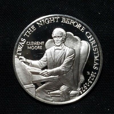 """925 Silver Medal of Clement Moore """" The Night Before Christmas """" 1823-1973"""