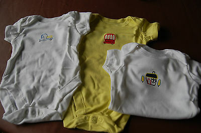 3 Assorted Bodysuits 2 White 1 Yellow  100% Cotton George Age 0-3 Months BNWOT