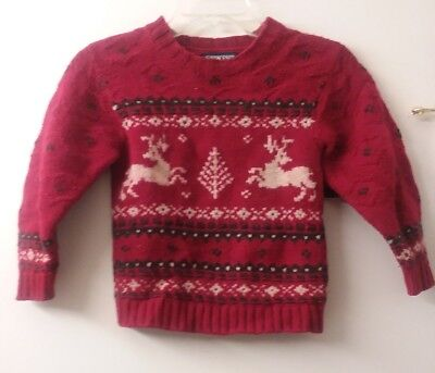 Land's End Red Reindeer Nordic Winter Christmas pullover Sweater Kids boys M EUC