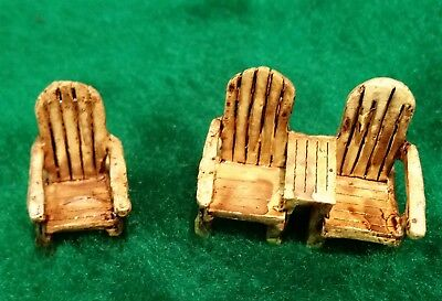 Micro Tiny Miniature Dollhouse Fairy Garden Adirondack Chair Set of 2