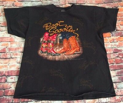 Vintage 3D EMBLEM 1993 Country Boot Scootin Boogie Shirt Size XL Allover print