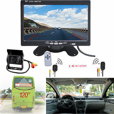 """Wireless Rear View Backup Camera Night Vision System+7"""" Monitor For Bus Truck IR"""
