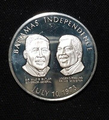"""925 Sterling Silver Medal of 1973 Bahamas Independence """" We Combine Shipping """""""