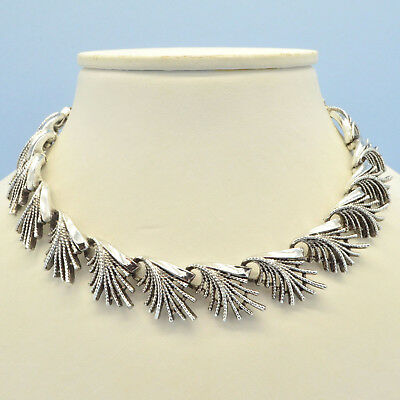 Vintage Necklace CORO 1950s Silvertone Stylised Leaf Fringe Bridal Jewellery