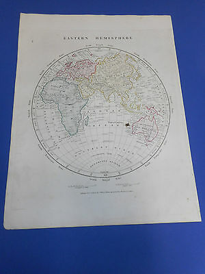 100% Original Eastern Hemisphere  Map By Williams  C1841 Vgc  Original Colour