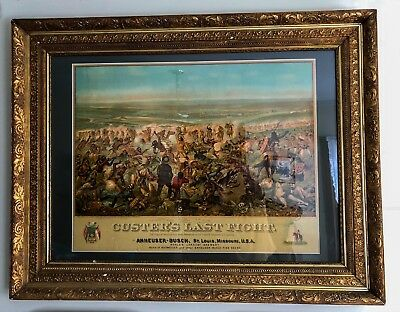 Large Antique Anheuser-Busch/Budweiser CUSTER'S LAST FIGHT Lithograph - C.1896