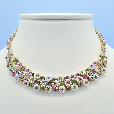 Vintage Necklace LERU 1950s Plastic Flowers & Multi Colour Crystals Jewellery