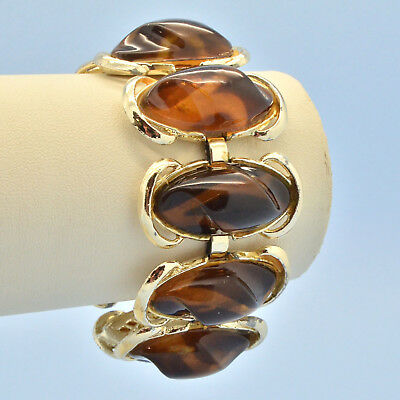 Vintage Bracelet Wide 1950s Brown Marbled Lucite Goldtone Bridal Jewellery