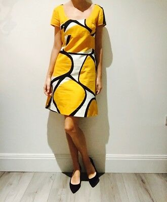 New With Tags- DVF Dress- Burnt Yellow with print- Size UK 10- Cocktail