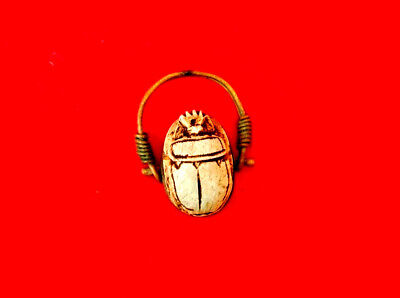 royal ring ancient egyptian civilization topped with Scarab with hieroglyphs