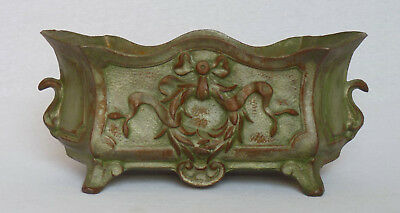 Rare Large Heavy Cast Iron Jardiniere French Footed Planter  ~ Green Patina