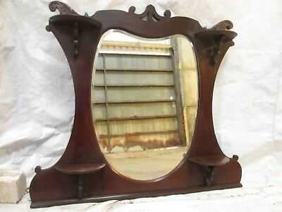 Victorian art nouveau mahogany framed gilt edged overmantle mirror (ref 602)