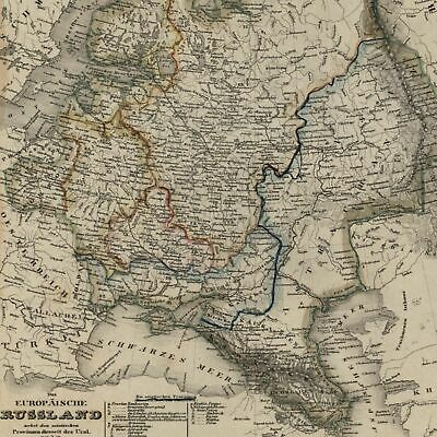 Russia in Europe Moscow St. Petersburg city plans 1849 detailed Meyer Renner map