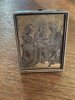 Late 1800 Antique .800 Silver Religious Picture And Frame Very Unique - 29.7 G
