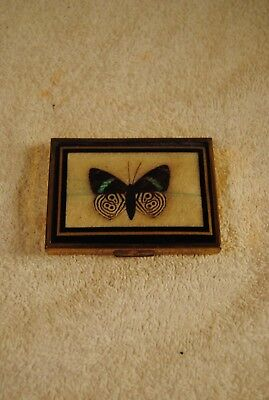 Vintage Buttlerfly Decorated Bronze Square Retro Cosmetic Compact