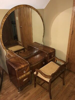 4 Piece Waterfall Bedroom Set - Antique Bed, Dresser, Vanity With Mirror, Seat