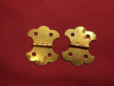 Pair Brass Finish Jewelry Trinket Box Chest Hinges Antique NOS Vintage