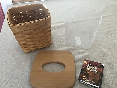 "Longaberger Basket Square Tall Tissue Box Holder W/lid 2001 6.5""x6.75"""