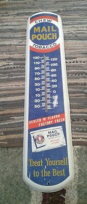 """VINTAGE MAIL POUCH CHEW Tobacco THERMOMETER 39"""" Great Condition Works !"""