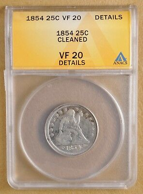 1854 Seated Liberty Quarter ANACS VF 20 Details