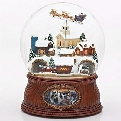 MEGA GLOBE Santa and Sleigh Flying Over Village With Driving Cars Snow Globe
