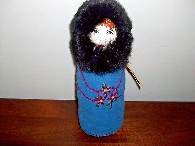 Vintage Flora Doll Newfoundland Labrador Hand Made Craft Embroidery Innu