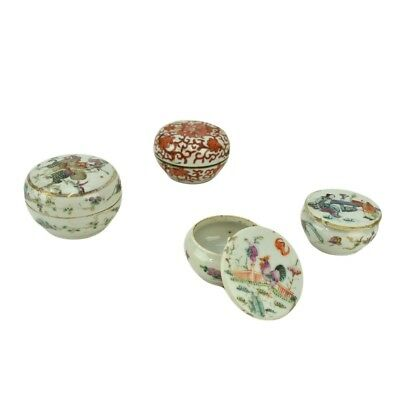 Grouping of Four (4) Antique Chinese Porcelain Miniature Covered Boxes.