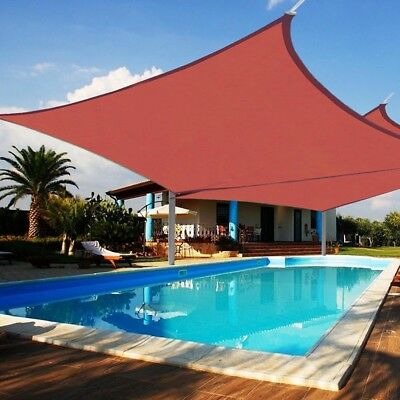 2 Set 16FT Square Outdoor Patio Square Sun Sail Shade Canopy Cover Red Uv Block
