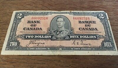 Bank Of Canada 1937 $2 Two Dollar Bill Note Circulated A/R Prefix - D103