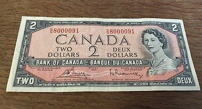 Bank Of Canada 1954 $2 Two Dollar Bill Note Circulated Special Serial K/G - D107