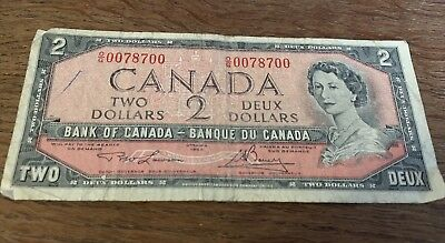 Bank Of Canada 1954 $2 Two Dollar Bill Note Circulated Radar Note O/G Pre - D109
